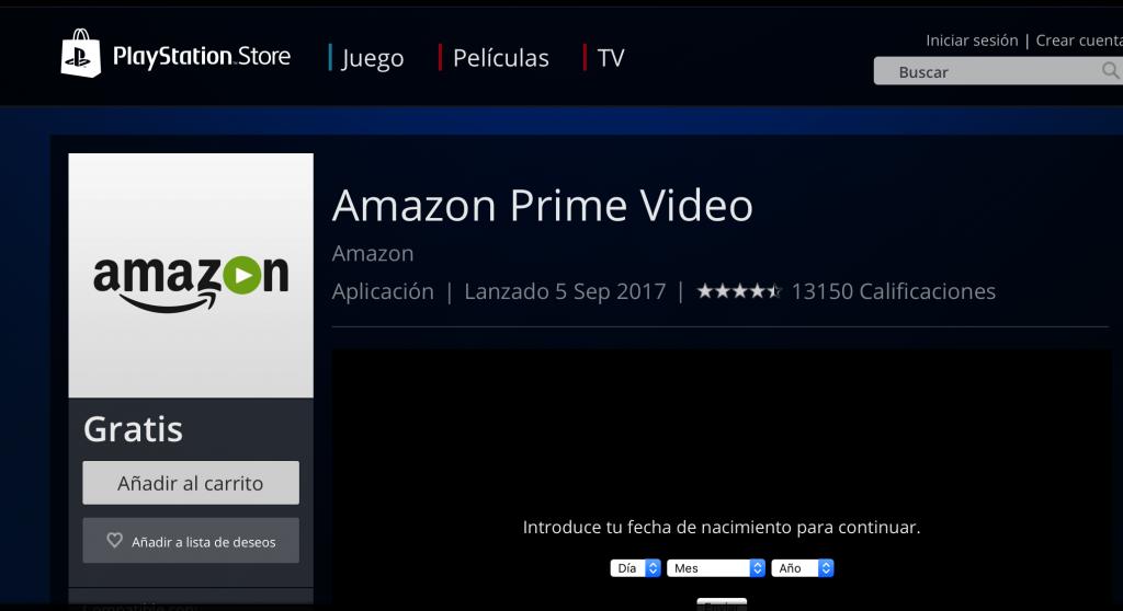 AMAZON PRIME VIDEO PS4 ESPAÑA
