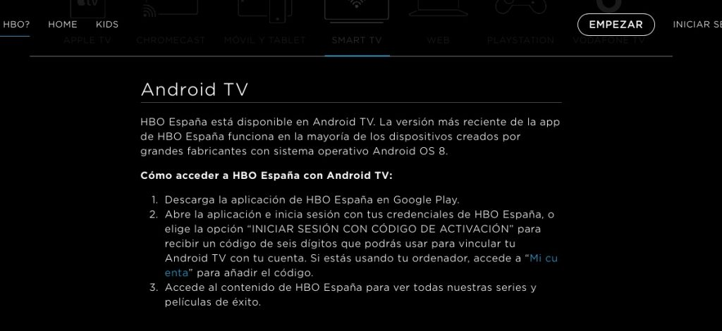HBO en Android TV de manera oficial
